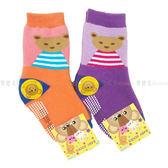 【KP】9-11cm 兒童襪 BABY SOCKS 毛巾止滑襪 厚襪 小熊 條紋 橘色 紫色 正版授權
