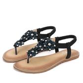 夾腳涼鞋 韓版女鞋子 夏季新款平底鞋女波西米亞涼鞋女大碼羅馬涼鞋【多多鞋包店】ds4165