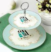 點心盤骨瓷英式下午茶點心盤雙層水果盤零食盤茶具點心盤架蛋糕盤    都市時尚
