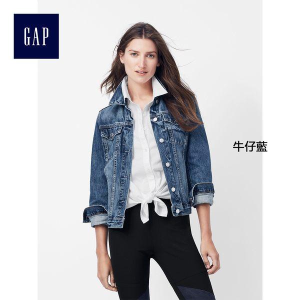 Gap女裝 時尚必備款純棉經典水洗牛仔外套 415738-牛仔藍