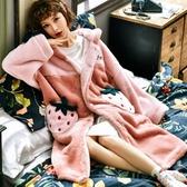 珊瑚絨睡裙女冬加厚秋冬季法蘭絨冬天學生可愛孕婦超長款睡袍睡衣