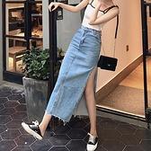 春夏裝高腰修身顯瘦包臀一步裙高個子側開叉半身長裙女直筒牛仔裙-Milano米蘭