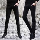 牛仔褲 冬季黑色牛仔褲男士韓版修身青少年小腳褲潮流男裝休閒男褲子長褲 伊蒂斯