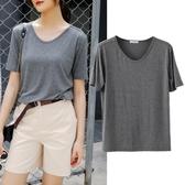 短袖T恤 短袖女2020年新款夏季寬鬆上衣大碼莫代爾T恤學生v領半袖打底衫
