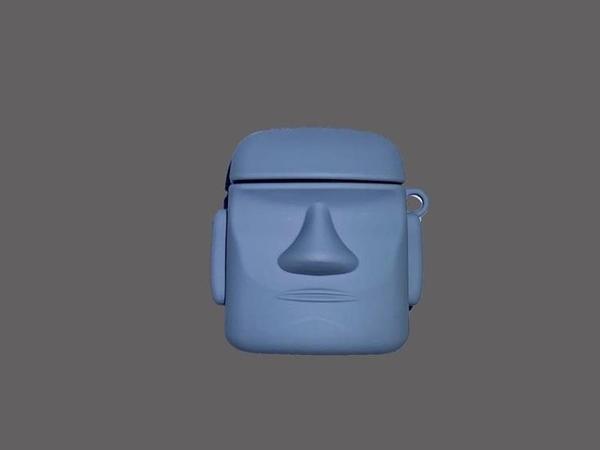 摩艾石像airpods保護套AirPods無線藍牙耳機矽膠防摔石像保護套