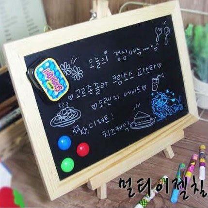 《7color camera》韓國原木田園掛式留原板 支架兩用磁性小黑板小白板雙用板