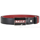 BALLY 黑紅配色字母徽標方型釦式雙面用牛皮腰帶 1940540-26