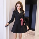 2020秋冬裝新款裙子修身復古氣質收腰顯瘦長袖性感夜店洋裝女裝 安妮塔小铺