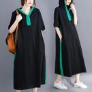 連帽洋裝 大碼女裝微胖連身裙2021新款...