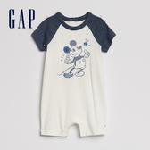 Gap嬰兒Gap x Disney 迪士尼系列米奇包屁衣546504-光感亮白