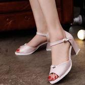女鞋子一字扣帶中空甜美魚嘴涼鞋女粗跟高跟鞋中跟 檸檬衣捨