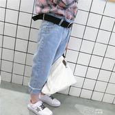 女童寬鬆牛仔褲春秋款兒童褲子童裝春裝女寶寶長褲送腰帶 道禾生活館