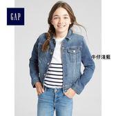 Gap女童 彈力直筒長袖牛仔夾克 334440-牛仔淺藍