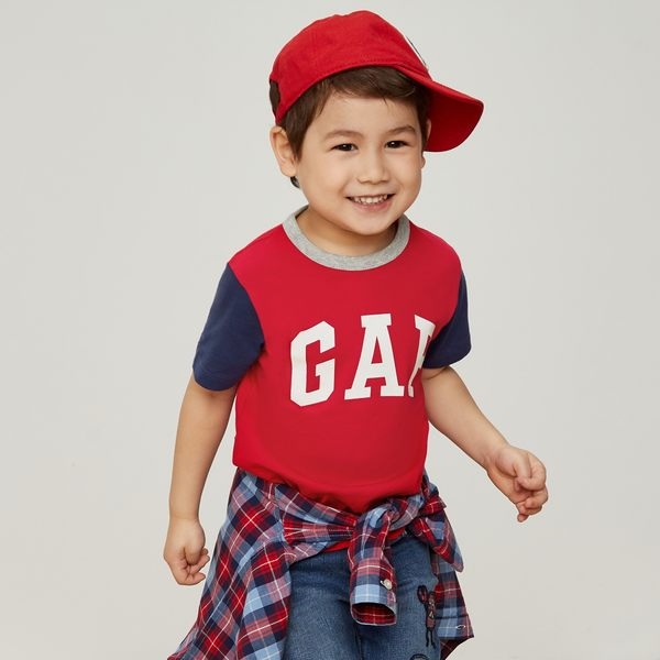 Gap男嬰幼童 Logo印花拼色圓領短袖T恤 442477-正紅色