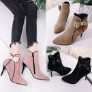 細跟靴女鞋靴子秋冬季新款甜美蝴蝶結高跟馬丁靴尖頭細跟磨砂短靴潮 喵小姐
