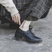 單鞋女粗跟學院英倫風中跟春秋系帶百搭軟皮小皮鞋【貼身日記】