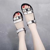 雙十一特價 平底涼鞋女夏2020新款百搭休閒學生仙女風一字帶平跟時尚沙灘鞋女