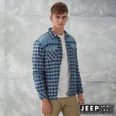 【JEEP】造型撞色拼接格紋襯衫式外套 (藍)