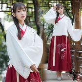 漢服古裝原創民族風繡花傳統漢服女仙鶴刺繡交領襖裙厚款日常套 618降價