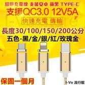 【五色現貨,24H快速出貨】四代升級款QC3.0磁吸充電線 安卓/蘋果/Type-C三合一磁吸充電線