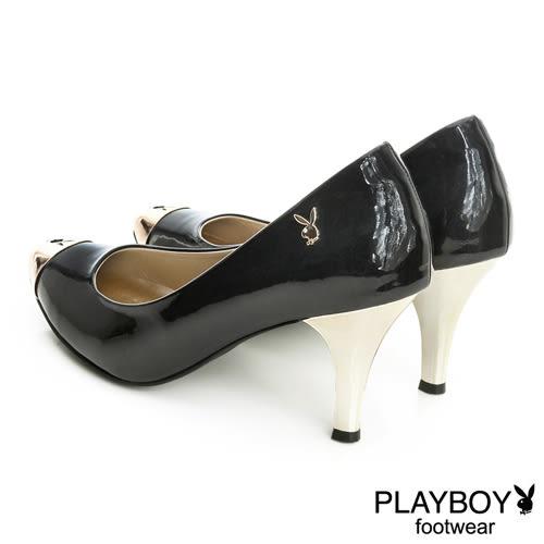 PLAYBOY  金屬兔頭 漆皮跟鞋-黑