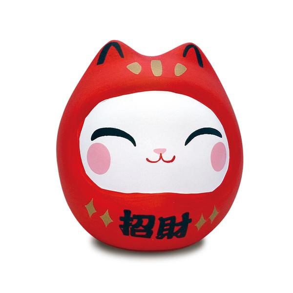 【金石工坊】七小福達摩貓-紅色招財 招財貓 陶瓷擺飾 開運擺飾 辦公開運 公仔