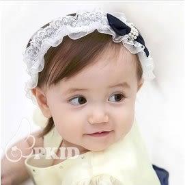 UNICO 韓版珍珠蝴蝶結 兒童髮帶/嬰兒髮帶