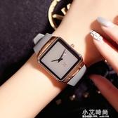 古歐手錶女英倫簡約男女方形情侶表潮流石英腕表硅膠帶皮女手錶 小艾時尚