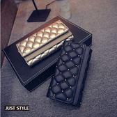 皮夾【JS精心苑】鉚釘錢包韓版女士雙層蓋手拿包菱格綉線錢包長夾