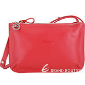 LONGCHAMP Le Foulonne 荔紋牛皮雙層拉鍊包(紅色) 1830426-54
