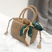 草編包ins同款草編包手提復古度假編織包森繫海邊迷你沙灘包氣質小包女 伊鞋本鋪