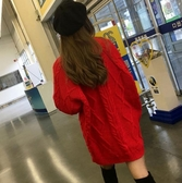 毛衣女2019秋冬新款慵懶風套頭甜美中長款粗毛線寬鬆顯瘦加厚外穿  Cocoa