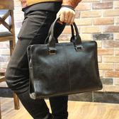 新款潮流公文包男士包商務手提包橫款單肩包斜背包       瑪麗蓮安