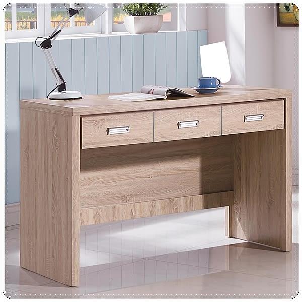 【水晶晶家具/傢俱首選】辛迪佳正木心板4呎橡木白三抽書桌~~雙色可選SB8233-4