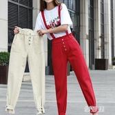 牛仔背帶褲女2020年夏季新款韓版寬鬆九分連體吊帶褲子哈倫休閒褲 EY10935『雅居屋』