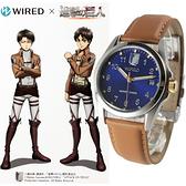 【萬年鐘錶】WIRED x 進擊的巨人 艾倫(Eren)限量聯名款 咖啡皮 藍錶面 銀殼 39mm VJ42-KH30B(AY8007X1)