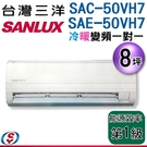 【信源】8坪【三洋冷暖變頻分離式一對一冷氣】SAC-50VH7+SAE-50VH7 含標準安裝