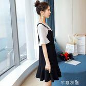 孕婦夏裝洋裝套裝新款時尚款中長款寬鬆夏季上衣裙子兩件套      芊惠衣屋