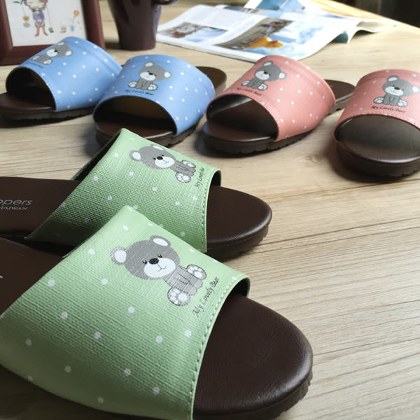 台灣製造-經典系列-親子室內拖鞋-療癒小熊-兒童-綠
