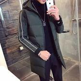 夾克外套-連帽後背字母印花中長版夾棉男外套3色73qa2[時尚巴黎]