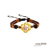 J'code真愛密碼金飾 晶彩薔薇黃金/純銀中國結手鍊