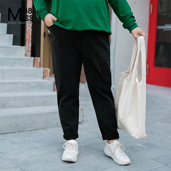Miss38-(現貨)【A07478】大尺碼牛仔長褲 黑褲單寧 顯瘦純色 寬鬆休閒 鬆緊腰有口袋 直筒褲-中大尺碼