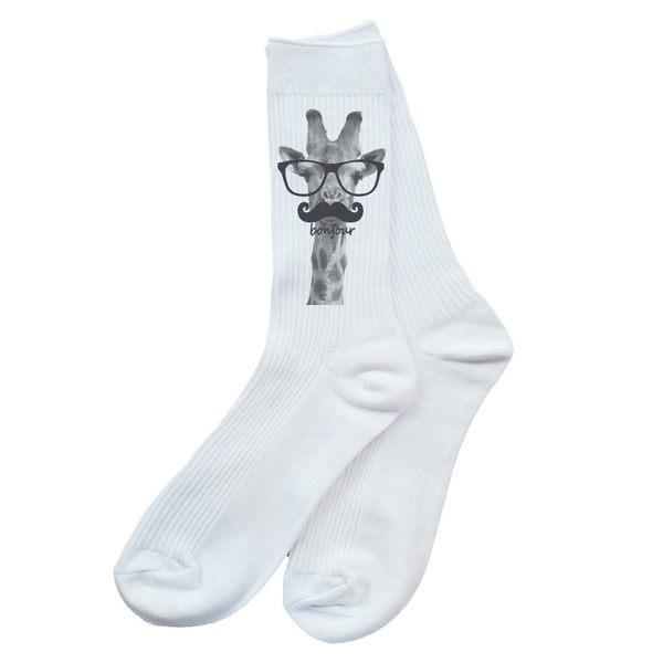 Giraffe-bonjour襪-白色 長頸鹿文青動物刺青tattoo fixed gear滑板街頭潮流塗鴉單速車