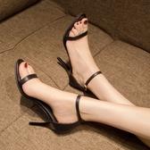 高跟鞋 網紅黑色高跟鞋女夏季新款百搭性感細跟一字扣帶氣質露趾涼鞋