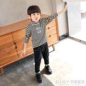 男童條紋打底衫  男童打底衫半高領秋裝韓版 兒童長袖t恤條紋童裝 宜室家居