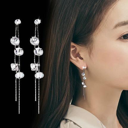 【NiNi Me】韓系耳環 氣質優雅長款鋯石流蘇925銀針耳環 耳環 N0145
