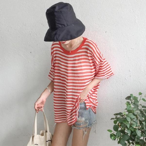 [超豐國際]夏季寬松顯瘦條紋冰絲短袖薄款針織上衣女裝罩衫1入