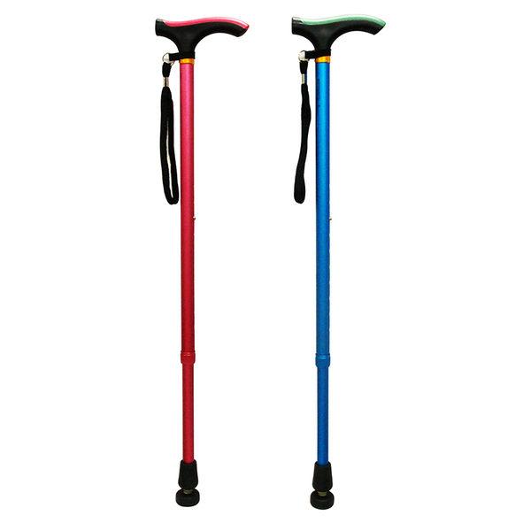 【醫康生活家】杏華 醫療用手杖 (未滅菌) 單手拐杖鋁製雙色T型握把(附繩)(藍/紅)