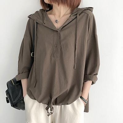 天絲棉襯衫女 連帽長袖襯衫 套頭打底上衣/5色-夢想家-0330