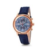 【Folli Follie】Romance浪漫時刻時尚真皮計時腕錶-鸚藍款/WF18R005SEU_DB/台灣總代理公司貨享兩年保固